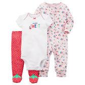 美國Carter's卡特童裝 女寶寶 長袖拉鍊兔裝&短袖包屁衣&包腳褲 紅草莓【CA126H162】