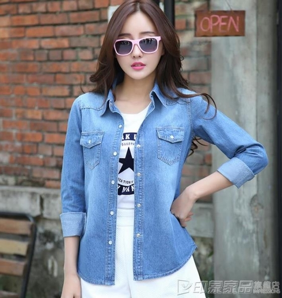 牛仔外套 2020夏季新款防曬衣女長袖韓版百搭寬鬆純棉牛仔襯衫女超薄款外套 印象