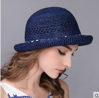 遮陽拉菲草帽戶外防曬太陽帽防紫外線沙灘帽   -charle00559