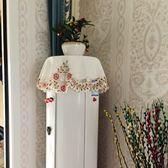 布藝繡花蓋布圓空調罩立式機櫃機套防塵圓柱圓形格力美的簡約現代『CR水晶鞋坊』
