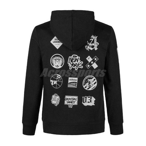 adidas 連帽外套 Originals BBALL Hoodie 黑 白 運動外套 三葉草 男款 【PUMP306】 AJ7099