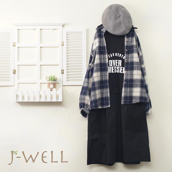 J-WELL 連帽英文字長T厚款落肩格紋襯衫二件組(組合A611 9J1022藍+9J1085黑)
