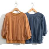 早秋上市[H2O]拼接網紗六分泡袖上衣 - 藍/駝色 #0651006