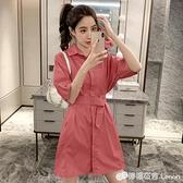 夏裝新款時尚氣質顯瘦收腰中長款襯衫裙女寬松短袖a字洋裝 檸檬衣舍