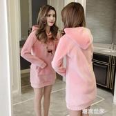 中長款金絲絨衛衣女連帽秋冬季2020新款韓版寬鬆加絨加厚雙面外套『潮流世家』