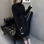 針織毛衣中大尺碼韓版網紅圓領修身打底衫 網紗裙兩件套R16.839.1號公館