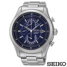 SEIKO精工  俊雅男爵三眼計時鋼帶石英腕錶 SPC165P1