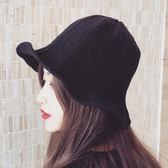 造型帽女秋冬針織漁夫帽女士休閒保暖日繫百搭毛線