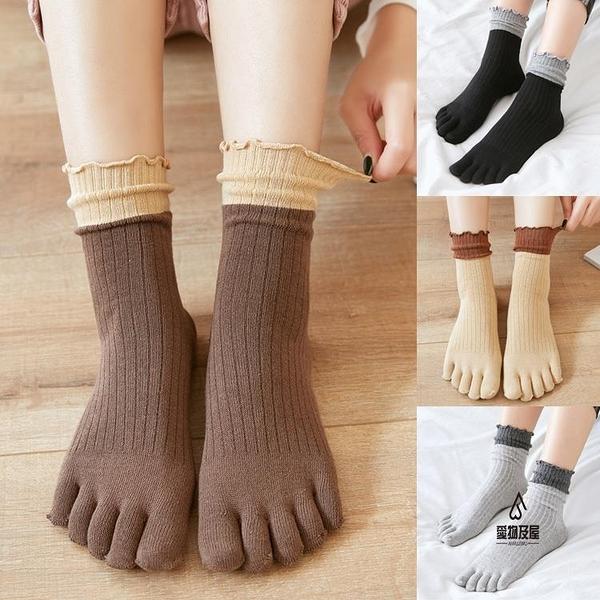 五指襪女純棉秋冬高腰拼色中筒堆堆襪日系可愛松口分趾襪【愛物及屋】