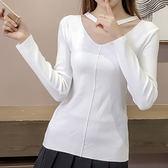 現貨-針織衫-性感簍空V領大圓環短袖針織衫 Kiwi Shop奇異果0331【SQA6486】