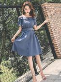 夏季新款韓版顯瘦漏肩一字露肩氣質少女初戀吊帶收腰洋裝子 草莓妞妞