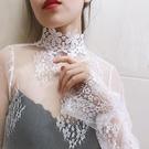 蕾絲打底衫女喇叭袖百搭時尚洋氣內搭網紗上衣很仙的超仙小衫紗衣 韓國時尚週