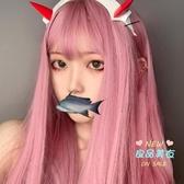 長假髮 長髮日常粉色長直髮淺粉空氣瀏海彩色髮套 3色