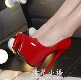 超高跟16cm淺口單鞋防水臺夜店性感細跟圓頭女鞋恨天高高跟鞋15cm 晴光小語