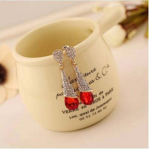 正韓時尚耳環歐美氣質耳釘女長版簡約百搭耳墜水晶日韓飾品 一件免運