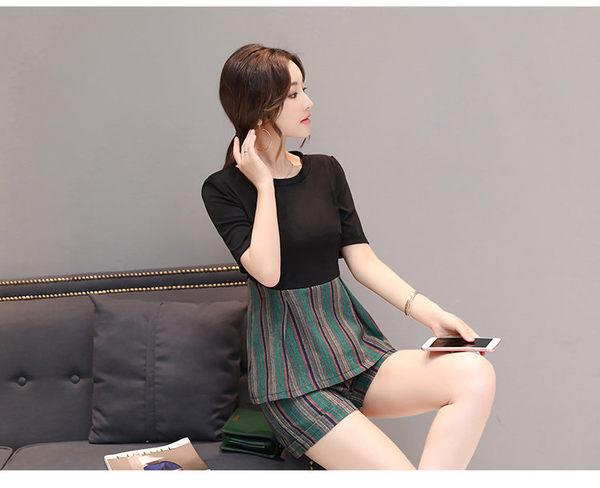 找到自己 G5 韓國時尚 夏季 名媛 棉麻 套裝 短袖 條紋 短褲 拼接 兩件套