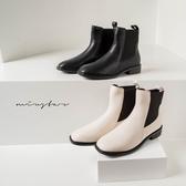 MIUSTAR 小方頭鬆緊布皮革短靴(共2色,35-39)【NH2323】預購