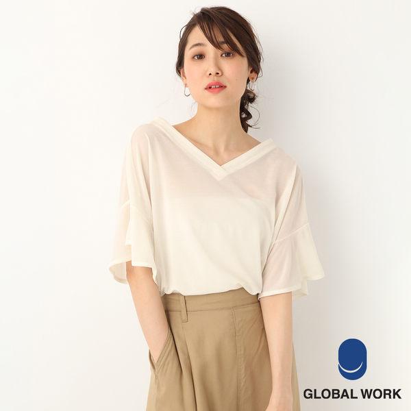 GLOBAL WORK女素色條紋3WAY開襟落肩寬袖短袖罩衫上衣-四色