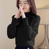 售完即止-長袖襯衫 秋裝襯衫女正韓寬鬆百搭半高領長袖上衣打底小衫T恤庫存清出(12-2S)