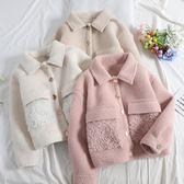 女夾克 冬季羊卷毛拼接貂絨外套女翻領單排扣顯瘦短款羊羔毛大衣Y-0028