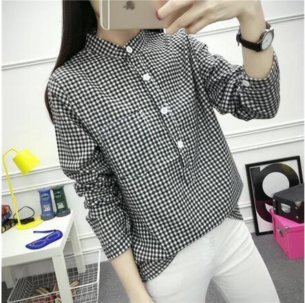 【AU14】新款學院風立領寬鬆顯瘦復古簡約學生格子襯衫