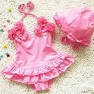 童泳裝 女童綁帶式V型花朵連身泳衣(含泳...