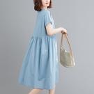 洋裝 中大尺碼女裝 2021夏季新款文藝寬鬆顯瘦棉麻純色中長款連身裙子大碼胖妹妹