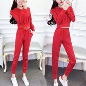嬌小矮個子155cm150秋季女裝漏臍套裝顯高運動兩件套2018韓版時尚 【PINK Q】