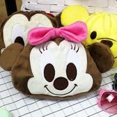 束口袋 正版迪士尼Disney系列絨毛立體大臉圖案束口化妝包 人氣卡通圖案 柒彩年代【NS11】收納包