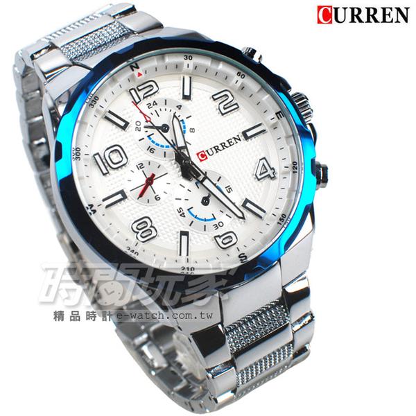 CURREN 卡瑞恩 數字時刻 造型三眼 大錶徑腕錶 男錶 厚實 防水手錶 CU8276藍