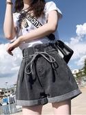 牛仔短褲女寬鬆高腰顯瘦闊腿韓版2020年夏季新款卷邊黑灰色a字潮