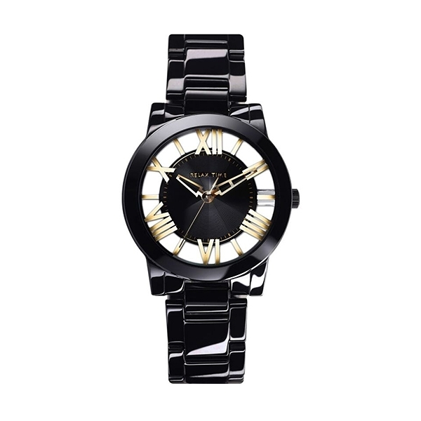 【Relax Time】Diamond羅馬鏤空時尚陶瓷腕錶-瓷石黑/RT-53-11/台灣總代理公司貨享一年保固