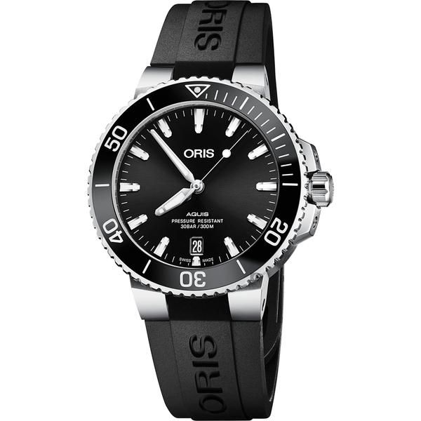 ORIS 豪利時 Aquis 時間之海300米潛水機械錶-黑/39.5mm 0173377324134-0742164FC