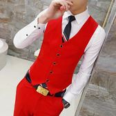 西裝馬甲新款春秋男式大紅色西裝馬甲男裝韓版純色修身型百搭休閒無袖馬甲 可然精品