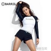 韓國潛水服女分體防曬長袖游泳衣顯瘦速幹保暖浮潛水母衣沖浪服女