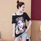 露肩短袖100%純棉露肩短袖t恤女夏韓版性感時尚不規則個性寬鬆大碼上衣潮 快速出貨