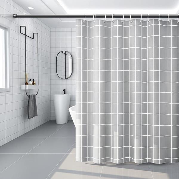 浴室浴簾防水布衛生間洗澡簾子掛簾防霉窗簾隔斷簾淋浴套裝免打孔