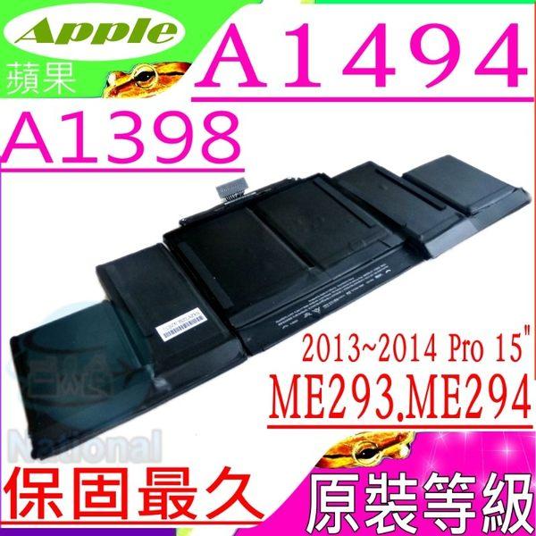 APPLE A1494 電池(原裝等級)-蘋果 A1398,ME293LL/A,ME294LL/A,MGXA2xx/A,MGXC2xx/A,Pro 15吋,Retina 15吋