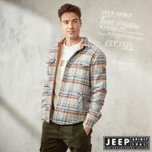 【JEEP】經典格紋襯衫式長袖外套(淺灰)