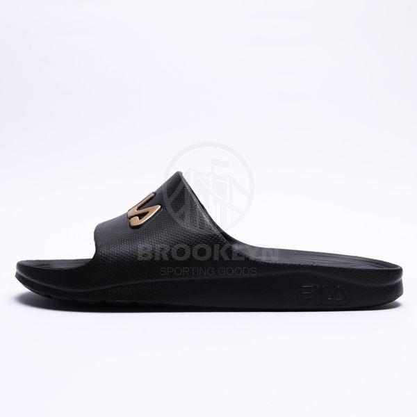 FILA 黑底 金 英文LOGO 基本款 防水 拖鞋 男女 (布魯克林) 2019/3月 4S355T009