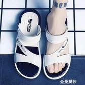 一字拖男士涼鞋夏季新款室外穿個性沙灘鞋男涼拖鞋男潮流韓版金曼