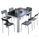 餐桌餐桌椅組合4人6人家用吃飯桌子小戶型長方形簡約現代鋼化玻璃餐桌【快速出貨】