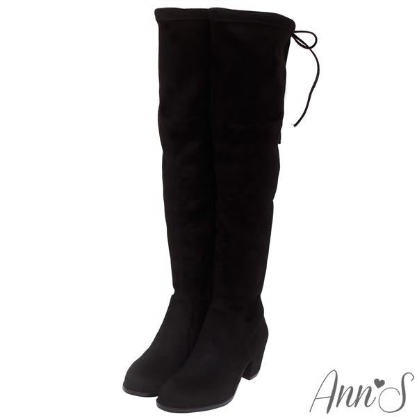 Ann'S纖瘦名模-絨質後蝴蝶結側拉鍊貼腿過膝長靴-黑