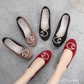 春秋季布鞋女平底單鞋透氣防滑軟底黑色工作鞋豆豆鞋媽媽鞋 小確幸