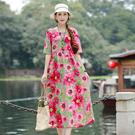 民族風連身裙 夏民族風女裝短袖洋裝文藝復古顯瘦收腰大擺棉麻長裙-Ballet朵朵