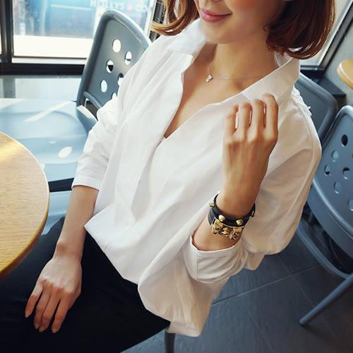 藍色巴黎 ★ 韓版 學院風後簍空蕾絲長袖襯衫 寬鬆上衣【27008】