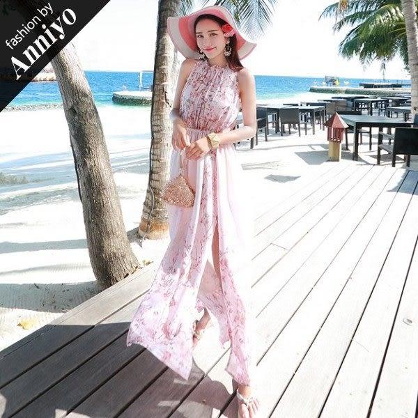 Anniyo安妞‧波西米亞裙襬雙邊開衩海邊度假無袖碎花雪紡沙灘裙顯瘦長裙長洋裝‧粉色碎花 5244