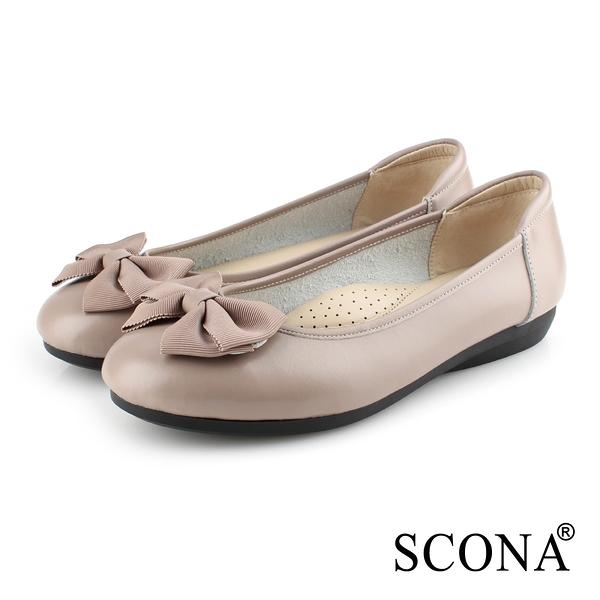 SCONA 全真皮 甜美舒適平底娃娃鞋 可可色 22401-5