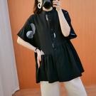 上衣 - A6865 圓圈個性襯衫長上衣【加大F】