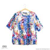 【INI】限量發售、獨特日系剪裁棉麻舒適上衣.水藍色